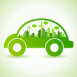 Ecology concept with eco car - vector illustration