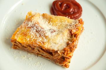 Italian lasagna close up