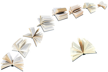 arch of flying books isolated