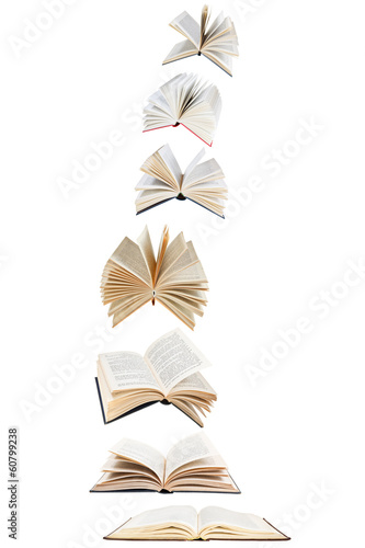 stack of flying books