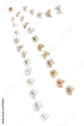 flock of flying books isolated on white