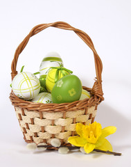 The Easter basket with painted eggs