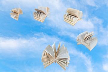 few book fly in blue sky