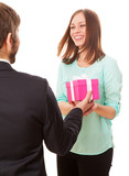 Man giving a present to a woman