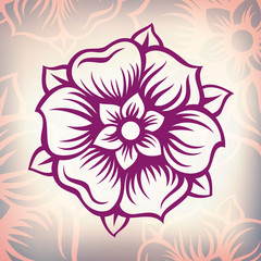 vector  vintage Baroque engraving flower