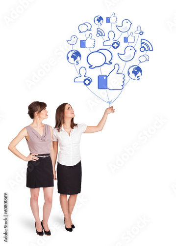 Happy ladies holding social icon balloon