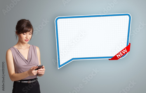 young woman holding a phone and presenting modern speech bubble
