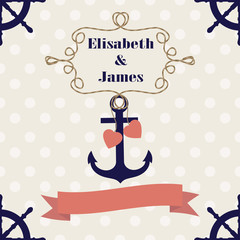 Wedding nautical invitation card with anchor on polka dot