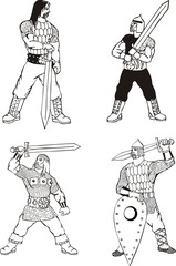 Russian bogatyrs with swords