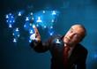Businessman choosing from social network map