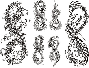 Stylized dragons as digit eight
