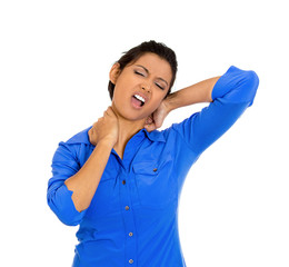 Woman with neck pain after working long hours