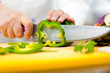 Chef slicing vegetables