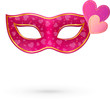 Pink vector carnival mask with hearts