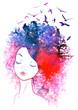 Watercolor hair girl