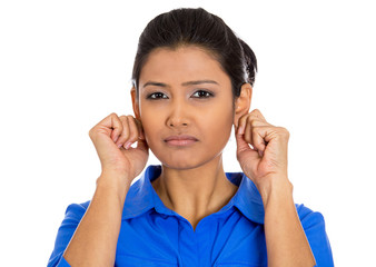 Woman pulling gripping ears sorry for what she did