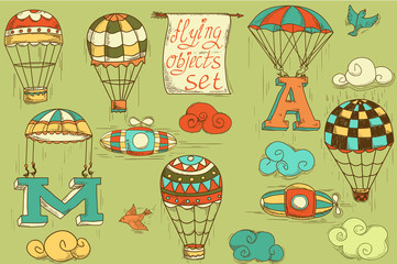 flying objects set vintage icons