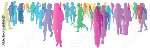 Bunte Menschen in der Stadt - silhouette - vektor - 60804427