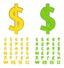 Doodle currency symbols of the world