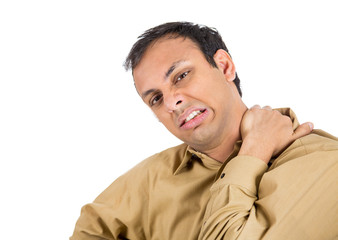 Man with bad neck pain isolated on white background