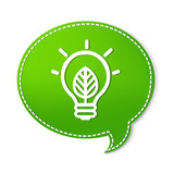 Green Speech Bubbles With Lamp Symbol