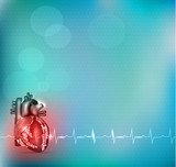 Colorful Cardiology background with detailed human heart anatomy