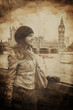 Aged Vintage Retro Picture of Woman in Front of Big Ben