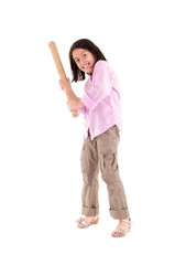 hispanic girl with baseball bat ready to hit