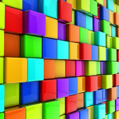 3d colorful glossy cubes wall background. © More Images