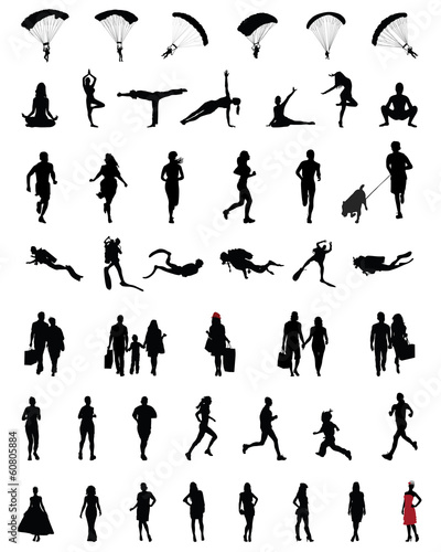 Black silhouettes of people in different situations 3, vector