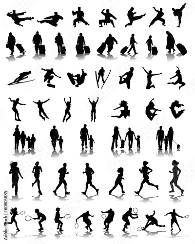 Black silhouettes of people in different situations 2, vector