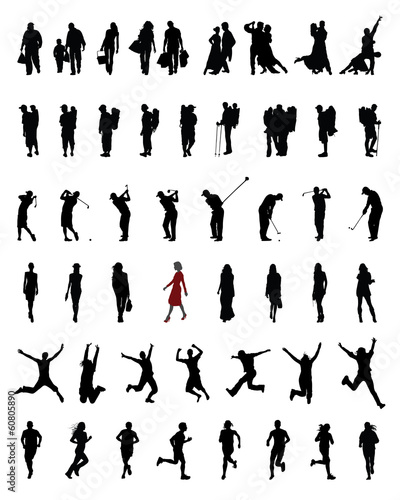 Black silhouettes of people in different situations, vector