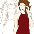 Stylish girl in vinous dresshand drawn vector illustration
