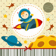 baby boy astronaut - vector illustration