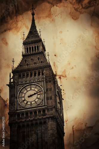 Aged Vintage Retro Picture of Big Ben in London - 60806255