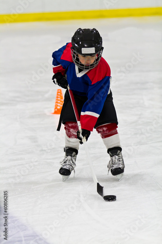 Boy at ice hockey practice