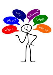Strichmännchen mit W-Fragen