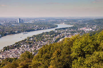 View on a city of Bonn from Drachenfels, Germany