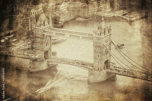 Vintage Retro Picture of Tower Bridge in London, UK Poster