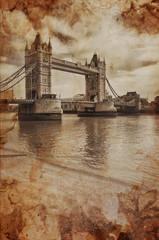 Vintage Retro Picture of Tower Bridge in London, UK