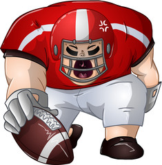 Red White Football Player Kneels and Holds Ball