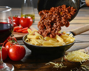 Penne wich bolognese sauce