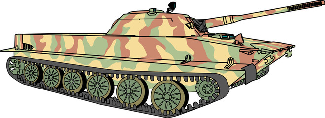 vector floating tank in camouflage coloring vector
