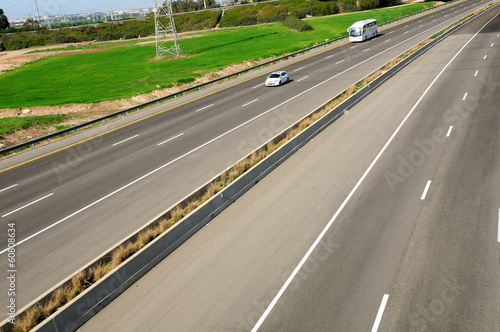 View of landscape with two way highway.  Central Israel.