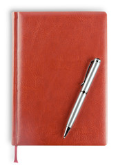 Leather diary with pen