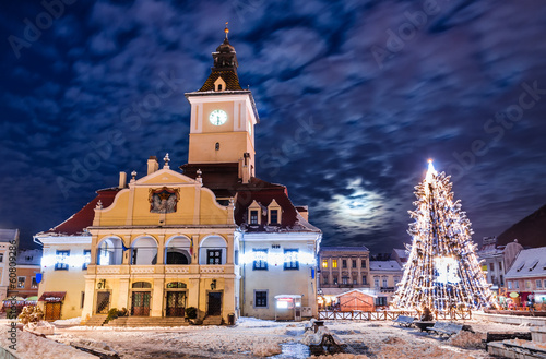 Brasov, Council Square in Christmas night