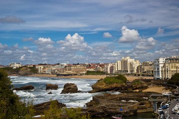 Beautiful sky over the town of Biarritz, France