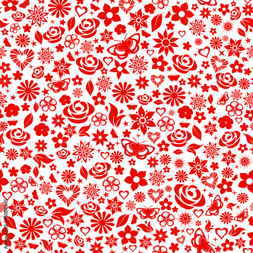 Seamless pattern of flowers, red on white