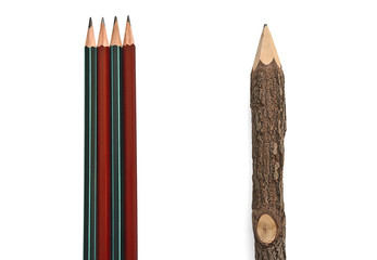 Pencils arranged vertically on a white background