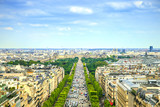 Fototapety Paris, panoramic aerial view of Champs Elysees. France